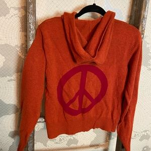 Sundance Lambswool Peace sign cardigan L GUC